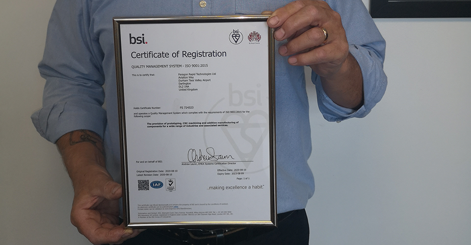 MEMBER NEWS: Paragon Rapid Technologies achieves the BSI Assurance Mark